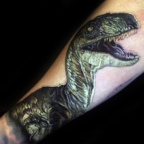 Green Dinosaur Mens Velociraptor Forearm Tattoo