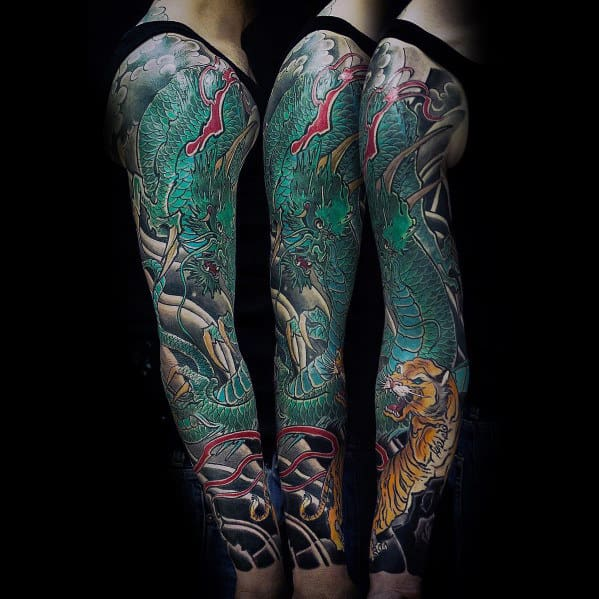 Green Drago With Tiger Male Sleeve Arm Tattoo Designs