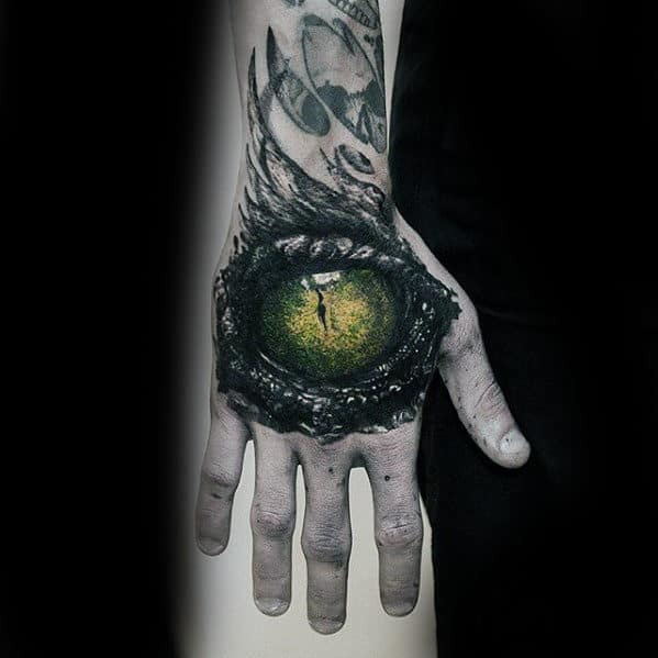 Green Dragon Eye Guys Realistic Hand Tattoos