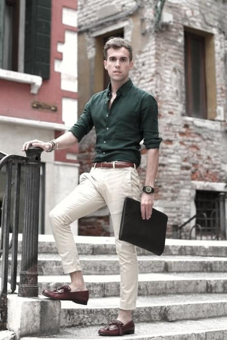Green Dress Shirt What To Wear With Khaki Pants Outfits Outfits For Men