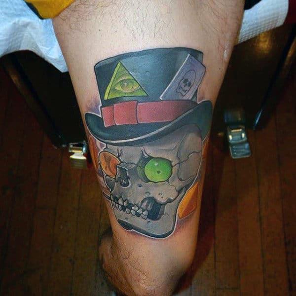 Green Ey Ball Skull New School Tattoo Male Lower Leg