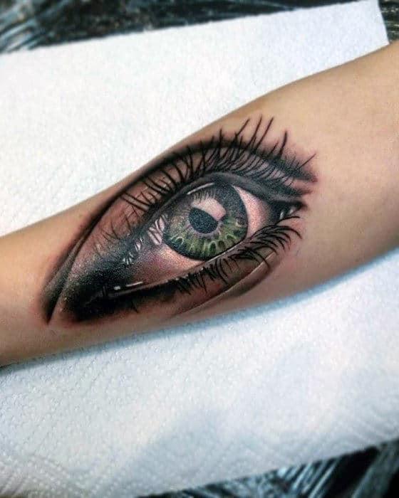 Green Eye Guys Realistic Tattoo On Forearm