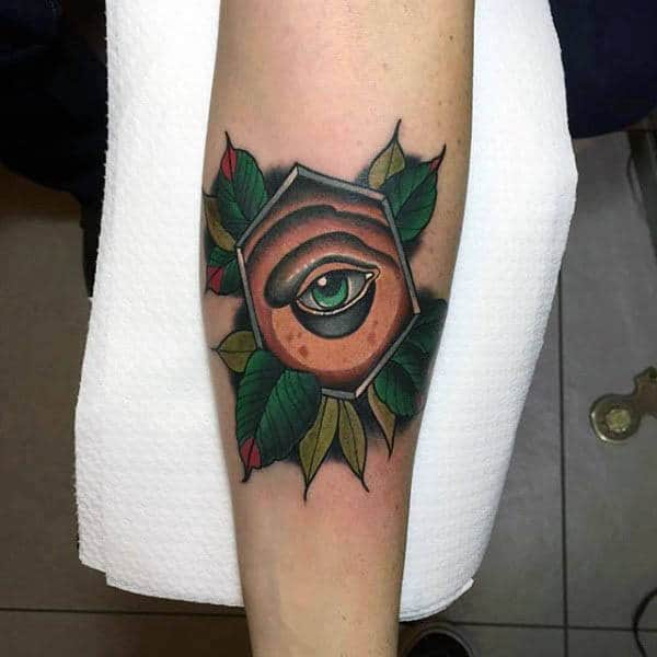 Green Eye In Hexagon And Leaves Neo Traditional Tattoo Guys Forearms