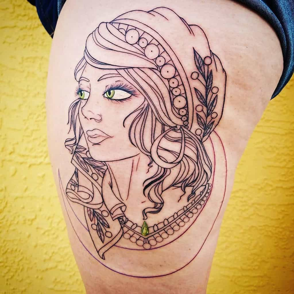 Green Eyes Line Work Gypsy Tattoo