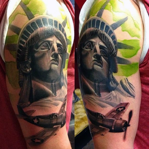 Green Fighter Pilot Statue Of Liberty Mens Tattoos