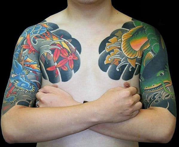 Green Fish With Blue Dragon Japanese Male Half Sleeve Tattoos