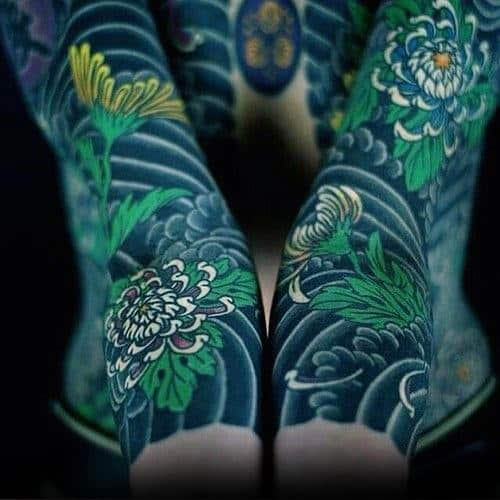 Green Flowers With Shaded Clouds Mens Japanese Sleeve Tattoo Ideas