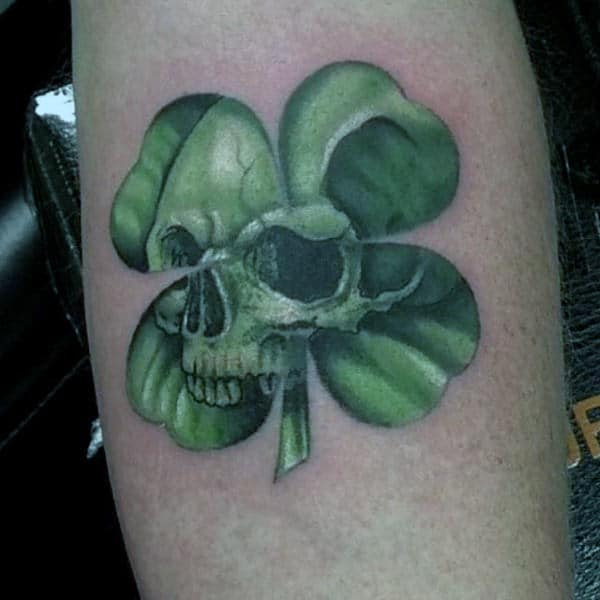 Green Four Leaf Clover With Skull Mens Arm Tattoos