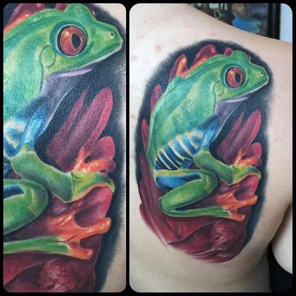Green Frog Mens Back Tattoo Designs