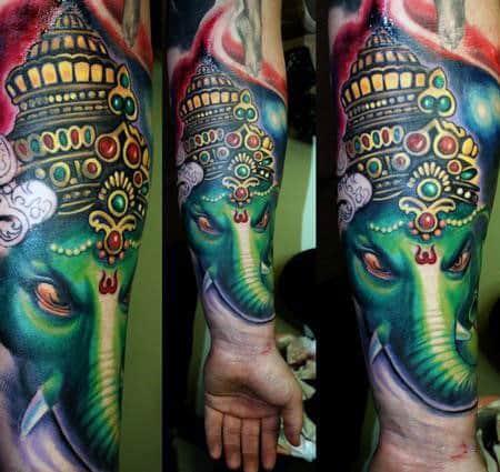 Green Ganesh Mens Amazing Forearm Sleeve Tattoo