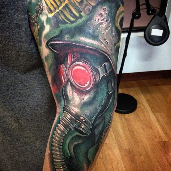 Green Gas Mask Tattoo With Glowing Red Eyes Mens Sleeve