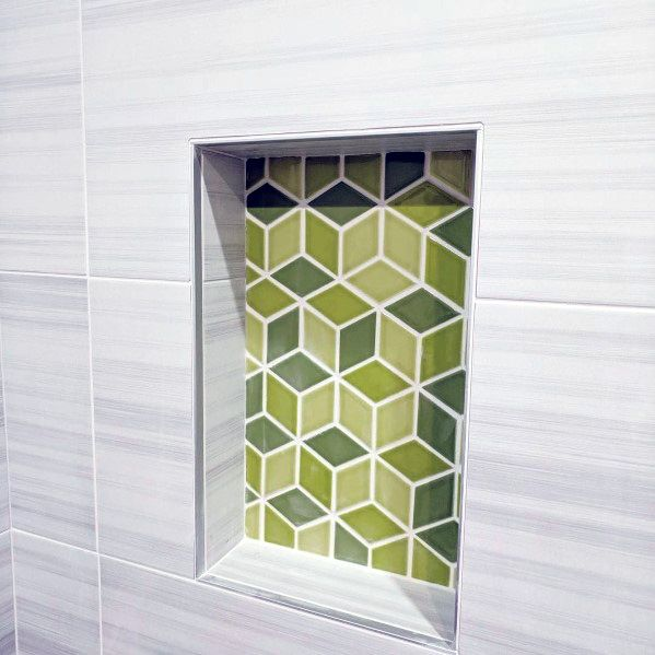 Green Geometric Cubes Shower Niche Ideas