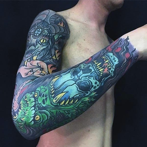 Green Gorilla With Blue Skull Mens Colorful Full Sleeve Tattoos