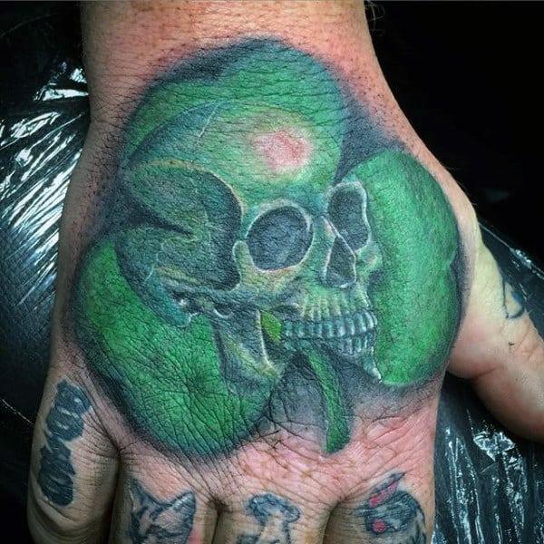 Green Guys Hand Skull Shamrock Tattoo