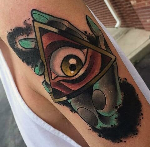 Green Hands Holding Illuminati Tattoo For Men On Arms