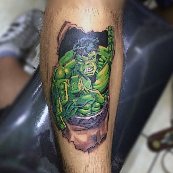 Green Hulk Breaking Tattoo Male Forearms