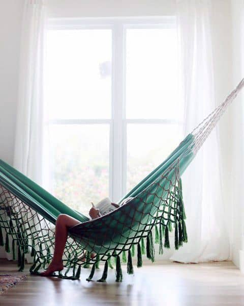 Green Indoor Hammock Ideas