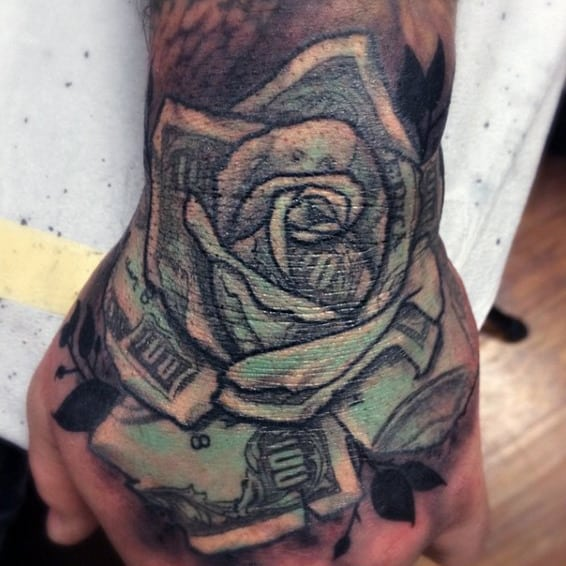 Green Ink Mens Money Rose Hand Tattoos