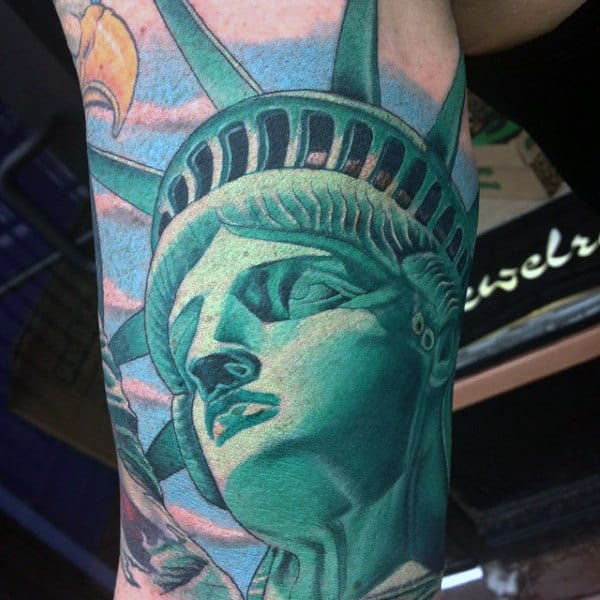 Green Ink Patriotic Statue Of Liberty Guys Outer Arm Tattoos