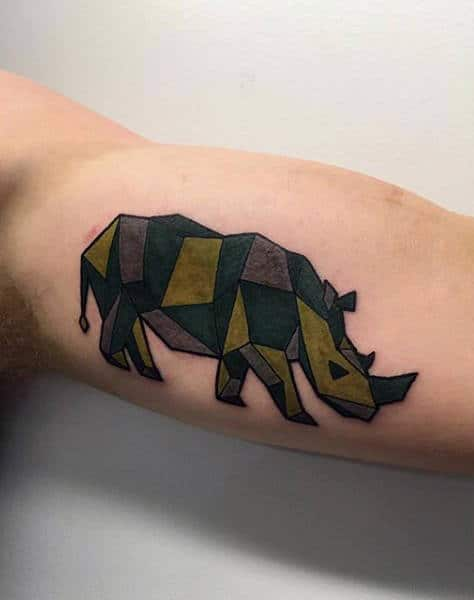 Green Ink Rhino Abstract Guys Geometric Tattoo Ideas