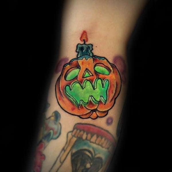 Green Jack O Latern Glowing Pumpkin Mens Small Arm Tattoos