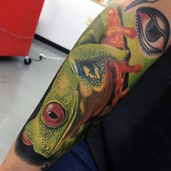 Green Jumping Frog Guys Realistic Forearm Sleeve Tattoo