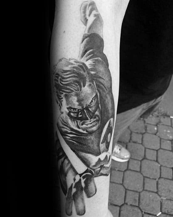 Green Lantern Shaded Black And Grey Ink Mens Forearm Tattoo