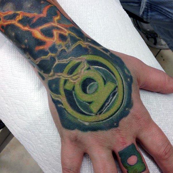 Green Lantern Symbol Mens Hand Tattoo