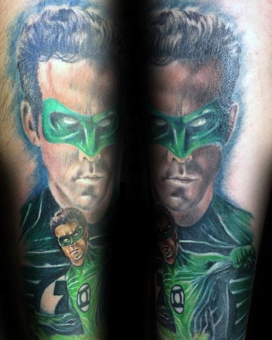 Green Lantern Themed Male Forearm Tattoo Design Ideas