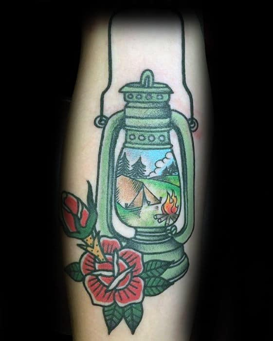 Green Lantern With Camping Scene Mens Traditional Forearm Tattoo