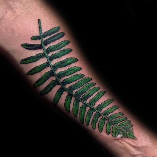 Green Leaf Fern Mens Inner Forearm Tattoo Inspiration