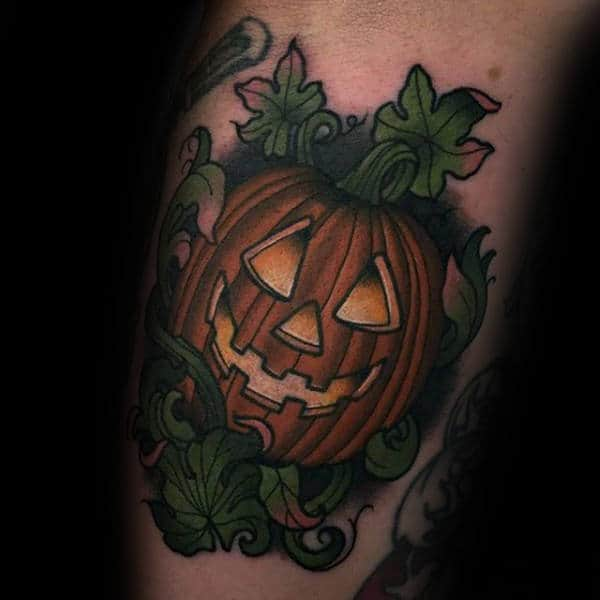 Green Leaves And Halloween Pumpkin Tattoo Male Forearms