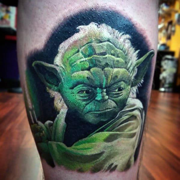 Green Light Saber Yoda Guys Lower Leg Tattoo Designs