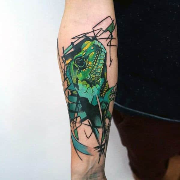 Green Lizard Tattoo With Abstract Designs On Forearms Men