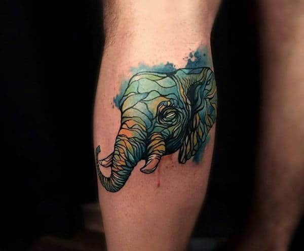 Green Marbled Elephant Tatoo Mens Forearms