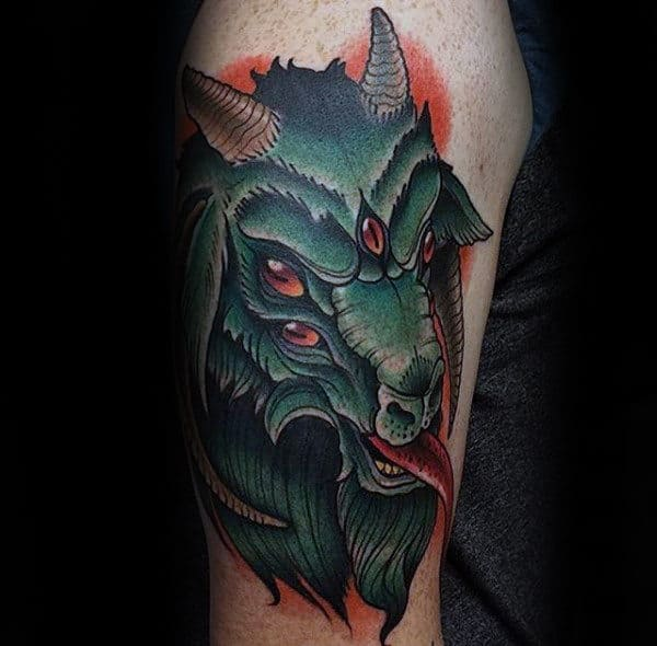 Green Multiple Eyed Goat Mens Arm Tattoos