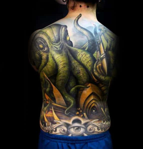 Green Octopus Mens 3d Full Back Tattoos