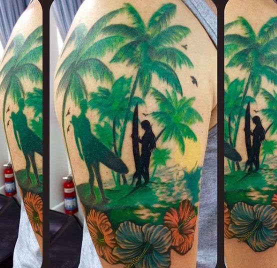 Green Palm Trees And Surfers Tattoo For Males On Arms