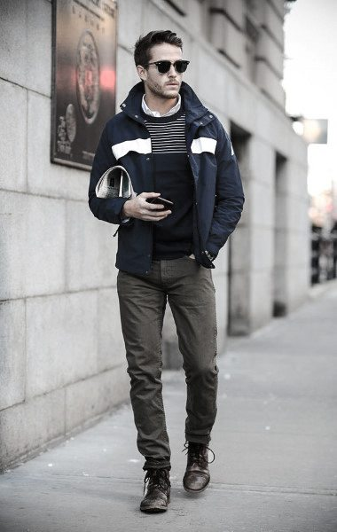 Green Pants With Blue Striped Sweater Dapper Mens Casual Wear Styles