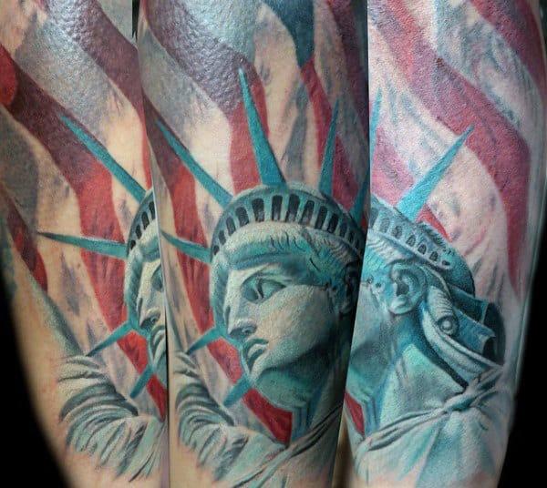 Green Patriotic Statue Of Liberty Mens Forearm Tattoo