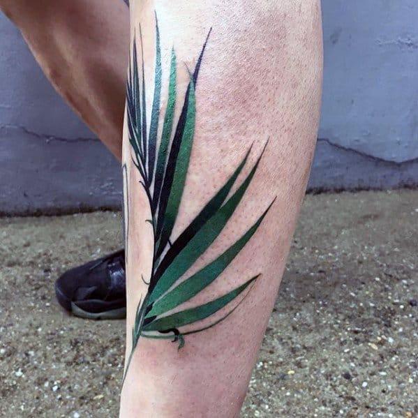 Green Plant Leaf Mens Small Nature Shin Tattoos