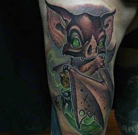 Green Potion Bat Male Tattoos