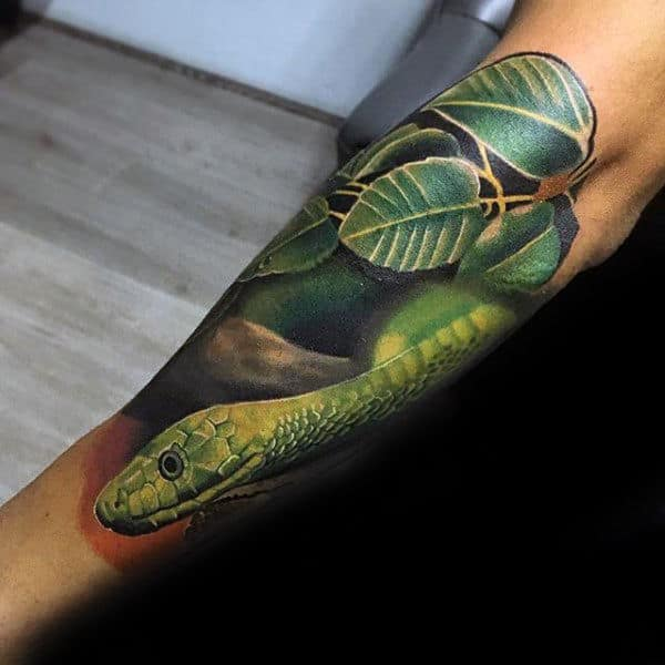 Green Realistic Snake With Leaves Crazy Forearm Sleeve On Man