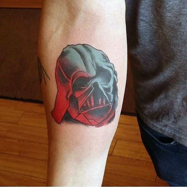 Green Red Skul Darth Vader Tattoo Male Forearms