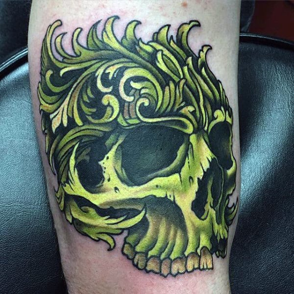 Green Skull Mens Filigree Arm Tattoos