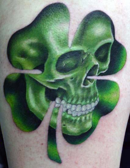 Green Skull With Four Leaf Clover Irish Inspired Mens Tattoos