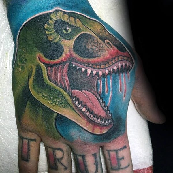 Green Slimy Dinosaur Tattoo Male Hands