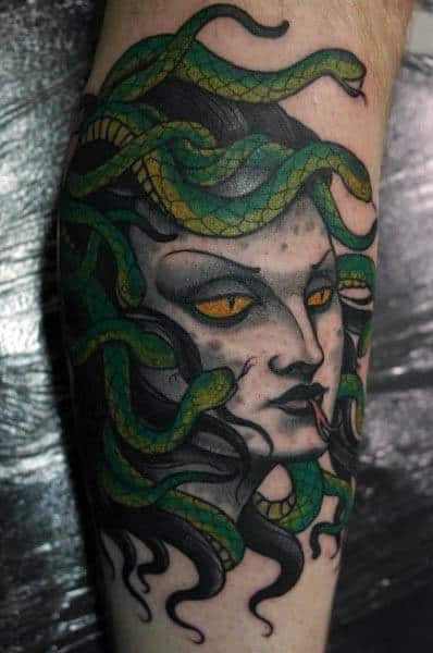 Green Snake Head Medusa Mens Tattoos On Leg Calf For Men