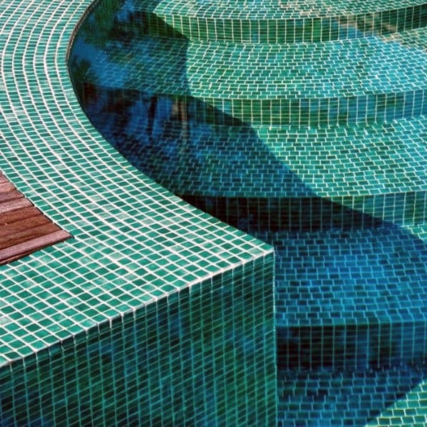 Green Swimming Pool Mosaic Tile Ideas