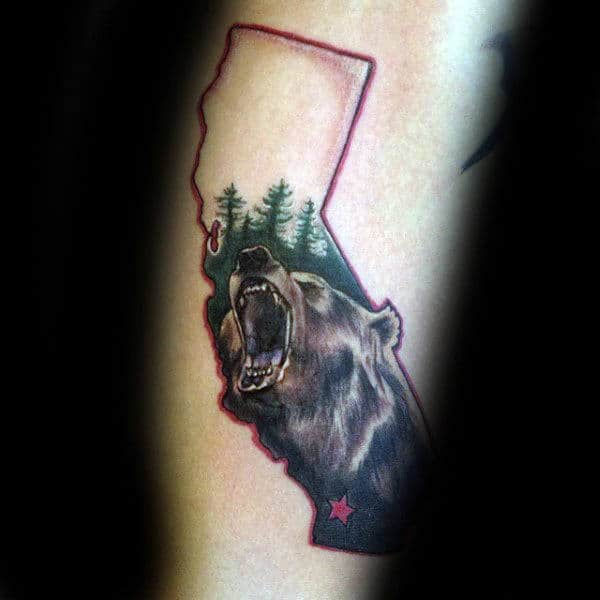 Green Trees California Bear With Red Ink State Border Mens Arm Tattoo